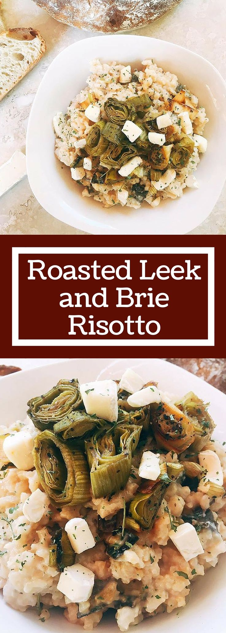 A unique and fun dish! Brie melts into the risotto to make one of the creamiest and most luxurious risottos. Roasted leeks add depth of flavor for a unique and delicious risotto.  Vegetarian but would also be great with some roasted chicken! | Roasted Leek and Brie Risotto | www.threeolivesbranch.com