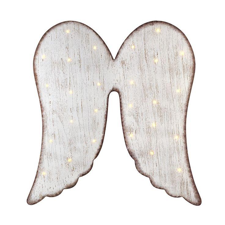 Wooden Angel Wings W/Led