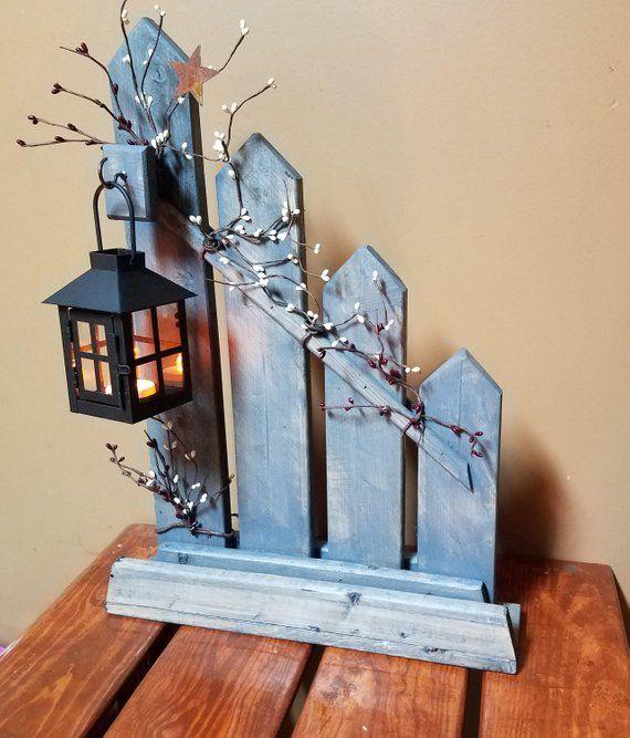 Rustic Home Decor, Primitive, lantern candle holder decor, Rustic picket fence, candle holder lantern, cottage decor, country decor