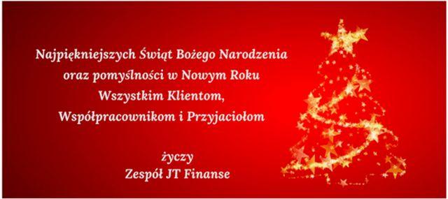 Świąteczne życzenia od JT Finanse
