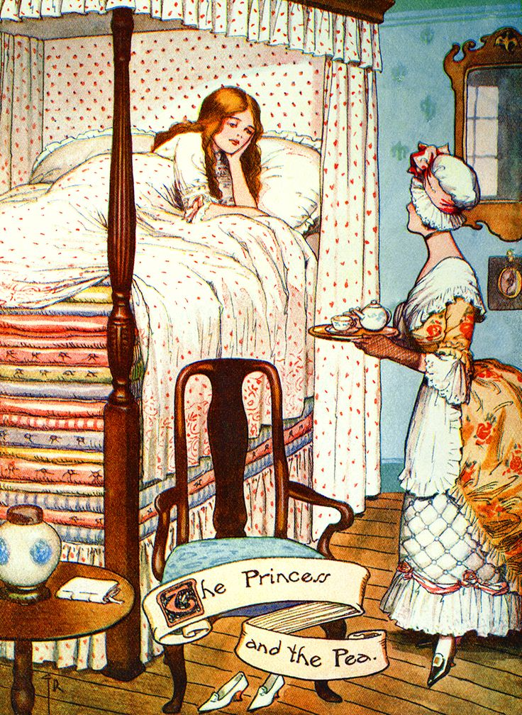 "Illustration: From the story ""The Real Princess"" Princess and the Pea. Hans Andersen's Fairy Tales by William Woodburn, Illustrated by Gordon Robinson"