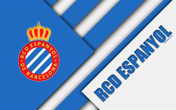 Download wallpapers RCD Espanyol FC, 4K, Spanish football club, Espanyol logo, material design, blue white abstraction, football, La Liga, Barcelona, Spain