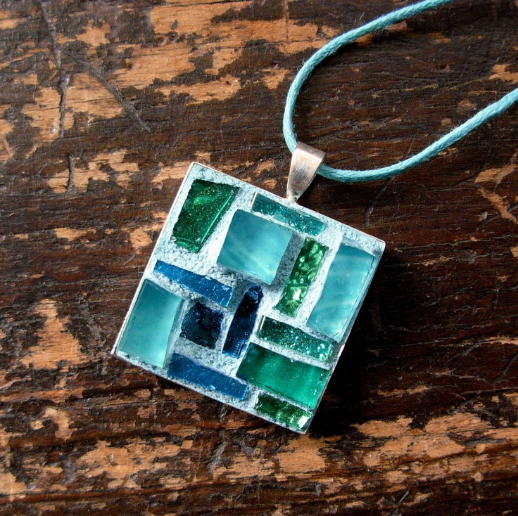 Mosaic Pendant Blue Green by nutmegdesigns on Etsy
