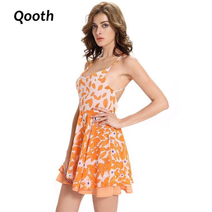 2017 Summer Sexy Women's Back Cross Straps Dress Backless Spaghetti Strap. Gender: Women   Neckline: Slash neck   Decoration: Hollow Out   Season: Summer   Style: Casual   Sleeve Length(cm): Sleeveless   Waistline: Empire   Silhouette: Loose   Sleeve Style: Regular   Dresses Length: Above Knee, Mini   Model Number: QH293   Material: Chiffon   Brand Name: Qooth   Pattern Type: Print   Fabric Type: chiffon   Size : M L XL 2XL