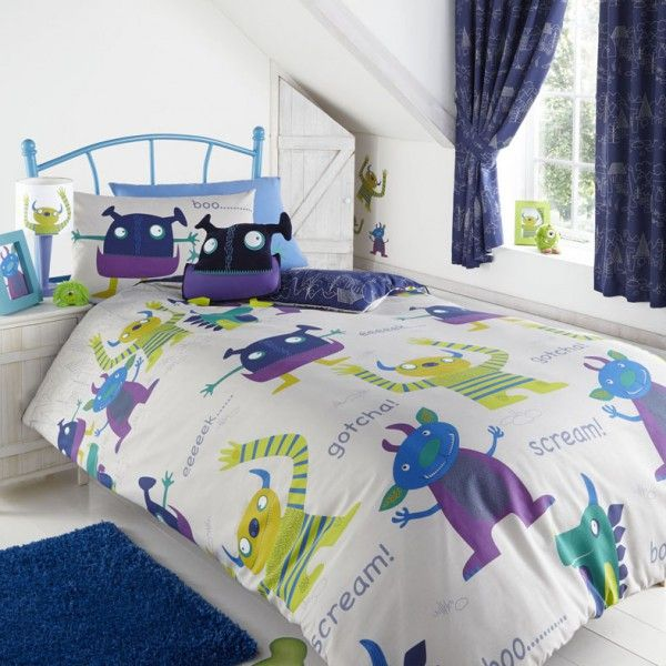 Friendly Monsters single duvet cover for boys. Childrens bedding, great idea to accessorise any little monsters bedroom.Available in a single duvet size.