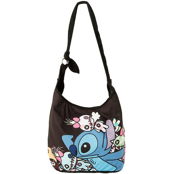 Disney Lilo and Stitch Where's Scrump? Hobo Bag Hot Topic ($20) ❤ liked on Polyvore featuring bags, handbags, shoulder bags, hobo shoulder bag, disney purse, white shoulder bag, white handbags and disney