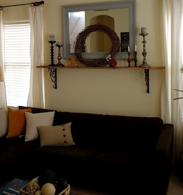 DIY mantle above the couch (since we don't have a …