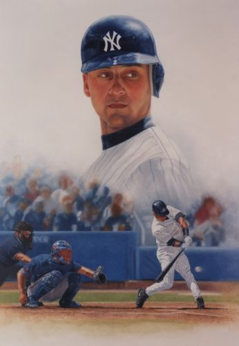 Limited Edition print of New York Yankee Captain Derek Jeter on paper