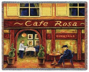 Cafe Rosa by Will Rafuse Throw. 100% Cotton Throws - Famous Artists. A wonderful cafe scene with rich colors is shown in this  Cafe Rosa Throw Blanket. A charming and clever look to accent your rooms...