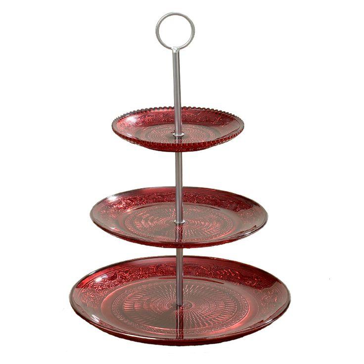 Creează un cadru decorativ pastelat aşezându-ţi fructele în fructiera roşie cu trei etaje. Acest produs este realizat din metal şi stică lăcuită în culoarea roşie, înâlţimea lui fiind de 36 cm în timp ce diametrul este de 25 cm. Prin natura şi designul lui acest produs îşi va găsi cu siguranţă locul pe orice masă festivă.