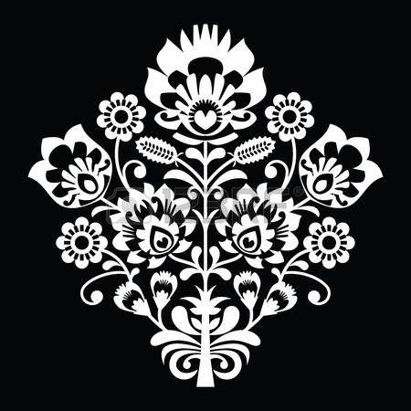 Modelo tradicional polaca arte popular en negro - Lowickie wzory, wycinanki