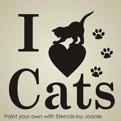 """Pet STENCIL I Love Cats Paw Print Playful 3"""" Kitty Animal Kennel Signs T-Shirts"""