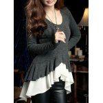 Wholesale Elegant Ruffle Lace Splicing Long Sleeve Blouse For Women (BLACK,S), Blouses - Rosewholesale.com