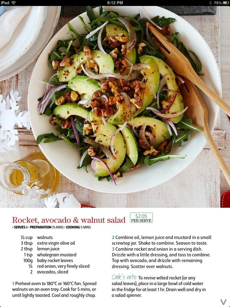 Rocket, avocado & walnut salad- Coles recipe