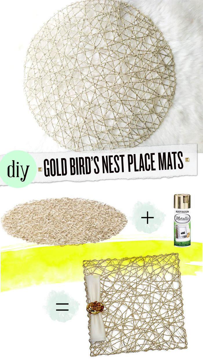 an ikea hack tutorial: diy gold placemats inspired by z gallerie, using ikea's SNÅR placemats.