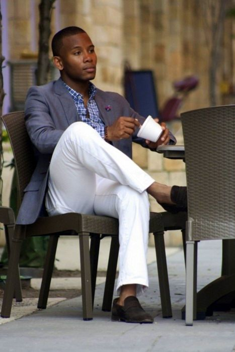 A great warm weather look.  White pants, no socks, loafers, no tie.