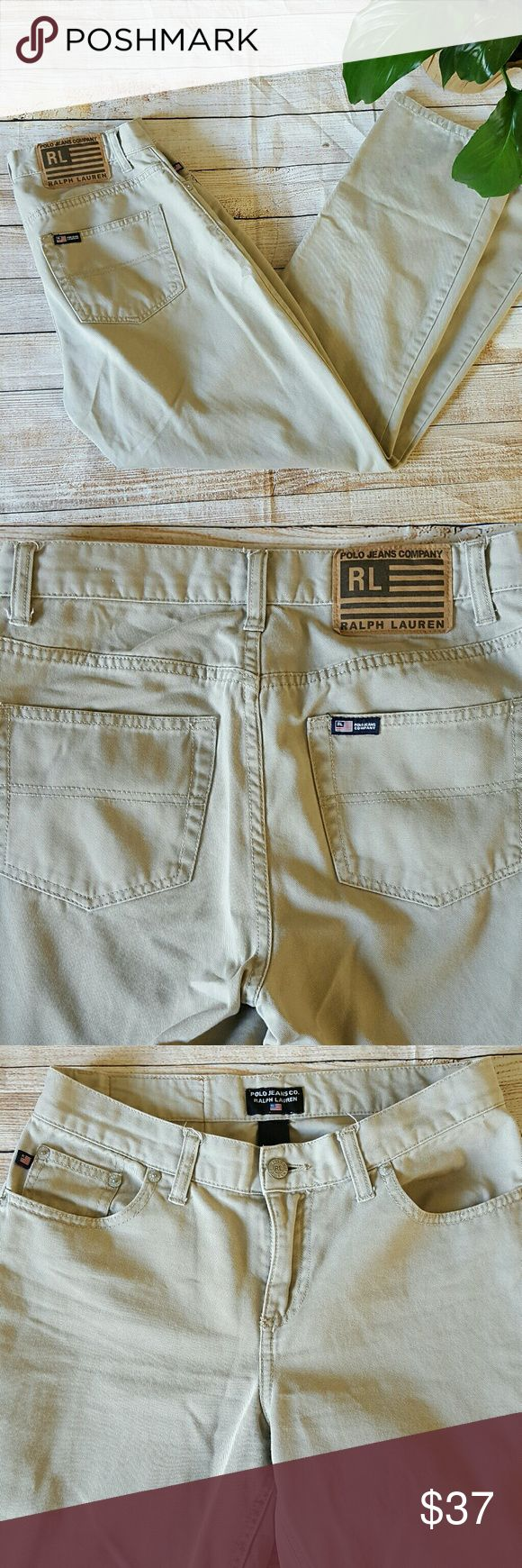 Polo Ralph Lauren Womens Beige Jeans Denim Pants 1 Polo Ralph Lauren Womens Beige Jeans / Denim Pants - 100% Cotton; Tan Khaki.  Size: 4 Gently pre-owned condition with no flaws. Please see photos for details.  Waist:  15 inches, laying flat, unstretched. Rise: 9.5 inches.Inseam:  28.5 inches. Lauren Ralph Lauren Jeans