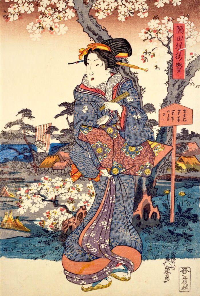 隅田堤桜盛(渓斎英泉 画)の拡大画像