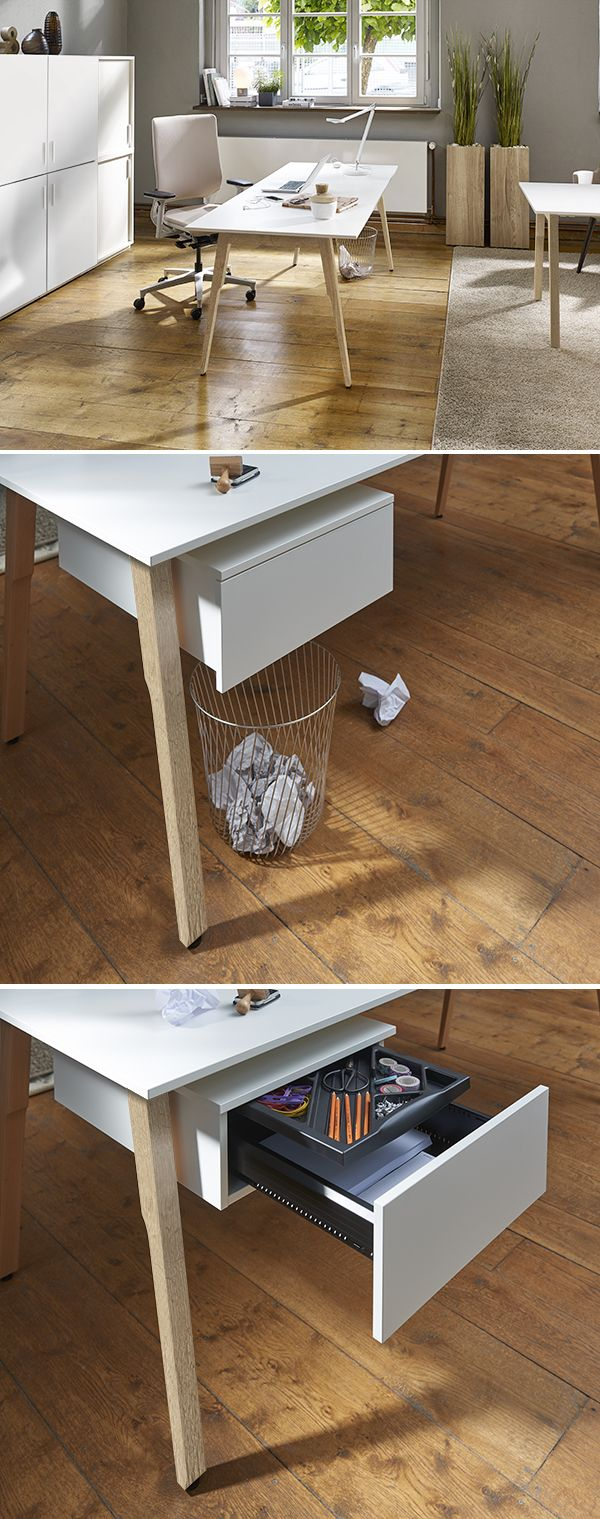 """Leichtigkeit plus Stauraum verspricht der filigrane Schreibtisch """"Sox"""". Die unauffällige Schublade bietet Platz für Papiere und Schreibutensilien."""