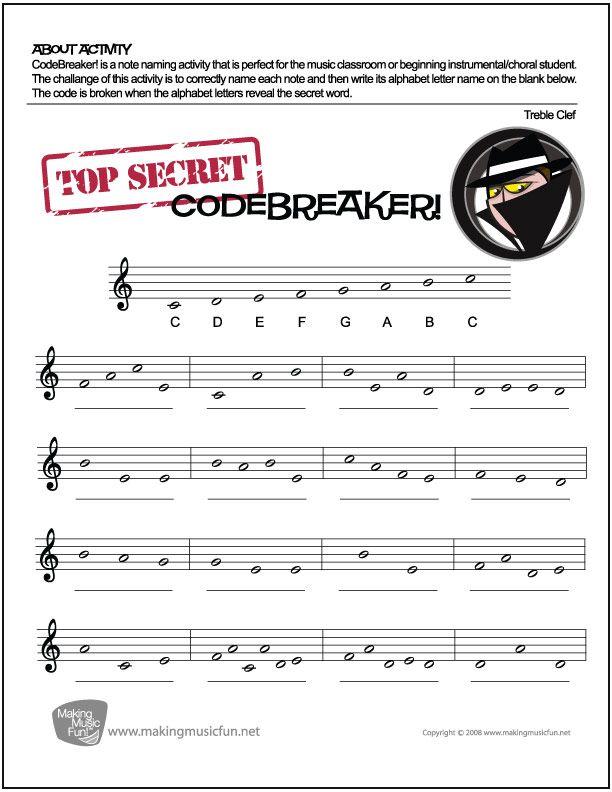 CodeBreaker! | FREE Treble Clef Note Name Worksheet - http ...