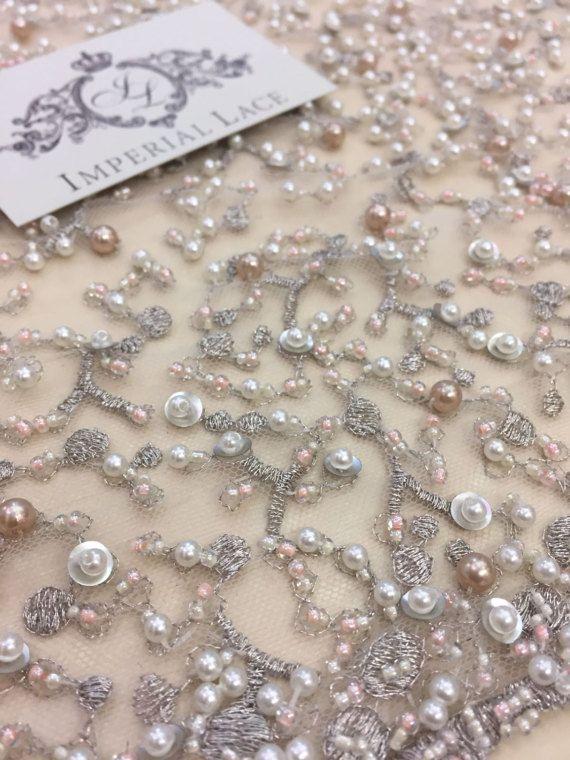 Grijs met roze parels netto weefsel, geborduurde kant, Frans kant, Lace bruiloft, bruids lace, witte Lace, sluier kant, Lace Lingerie, Alencon Lace