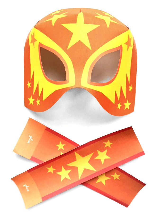 Cometa Lucha Libre printable mask and cuffs by Happythought! Set of 12 paper masks to make!