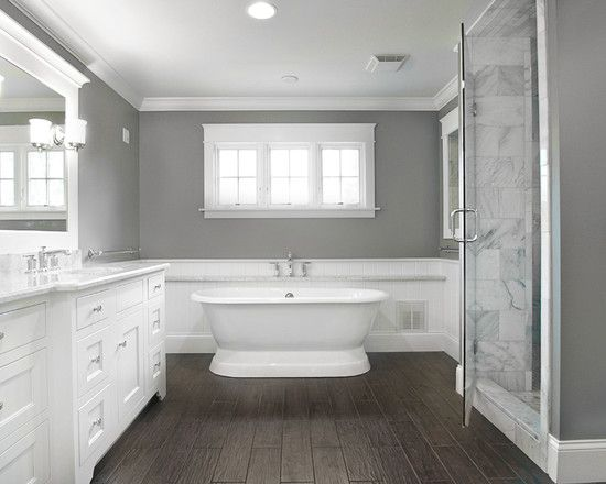 Love the contrast of dark hand scraped floors with white marble   cabinets   Looks a. 17 Best ideas about Light Grey Bathrooms on Pinterest   Small grey