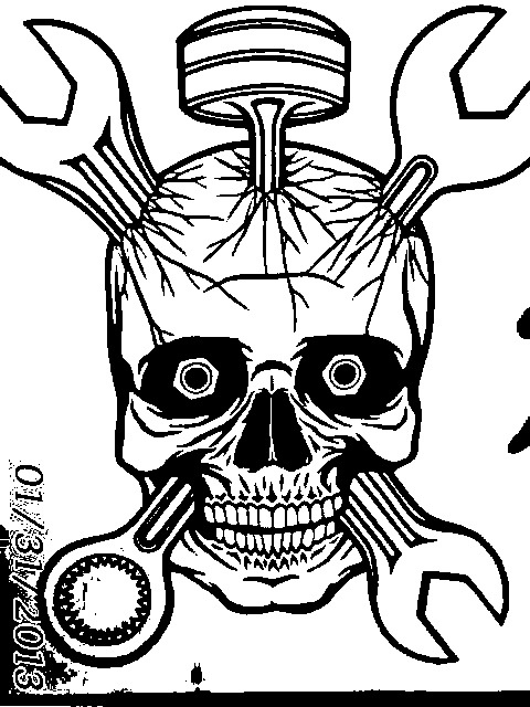 Horrible pic skull with wrenches piston 18x24 tattoo for Piston and wrench tattoo