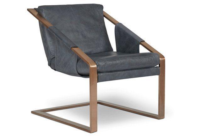 "1500 26.5""W x 32""D x 32.5""H Eiffel Leather Armchair, Aura Denim"