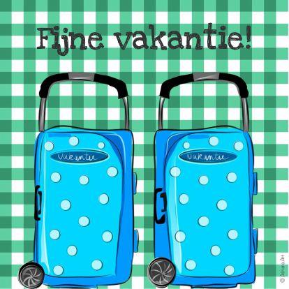 Fijne vakantie ruitjes en koffers - Vakantiekaarten - Kaartje2go