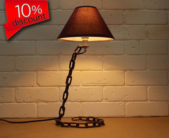 Industrial lamp- lamp office-industrial chain lamp-table lamp -desk lamp-lamp brown shade-industrial lighting-Home & Living-decor