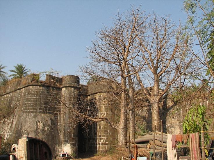 seaside fort gate at Vasai Fort.