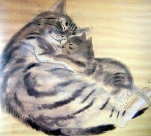 Chat endormi. Huile 16 x 22. Coll. part. Les artistes aiment les chats. Foujita comme Steinlen est un amoureux de la gent féline. Il est avec le peintre montmartrois, celui qui a le mieux compris le mystère de ces âmes sauvages et câlines... Chat. Eau-forte...