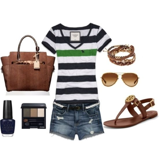BlueWhiteGreen. 3 stripes! - Click image to find more Womens Fashion Pinterest pins