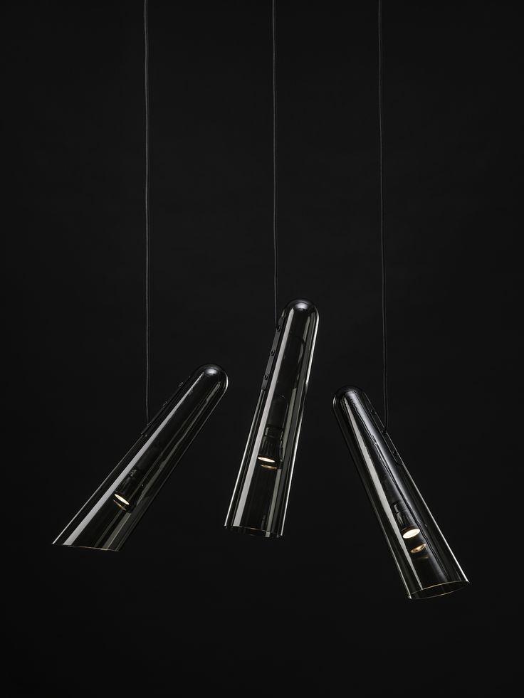Brokis - light - handmade - bohemian glass - interior. Flutes grey design by Lucie Koldova.
