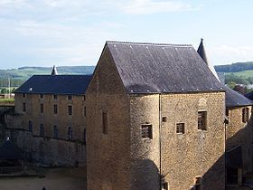 Château de Sedan - The Château de Sedan is a castle situated in Sedan, France, on a headland on the border of Meuse, flanked by the rivers Bièvre and Vra, in the Ardennes département of France. It is a grand fortress of medieval European stock, covering an area of 35,000 m2 in its seven floors.