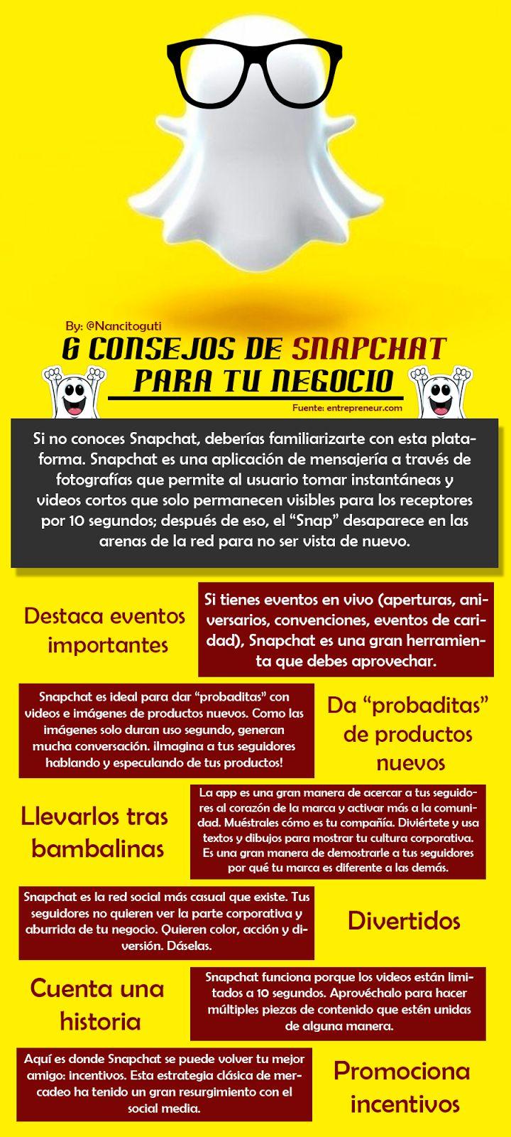 6 Consejos de #Snapchat para tu negocio. *ZaraGL Asesora Marketing Integral, Mobile, Digital-Negocios-Social Media-Gestión Ventas-Productos/Cursos Online/Escritora-Ensayista. www.zaragl.com.ve *G+ zaragl;FB zara.g.lobo;INS zara.g.lobo;TW @zaragltweet