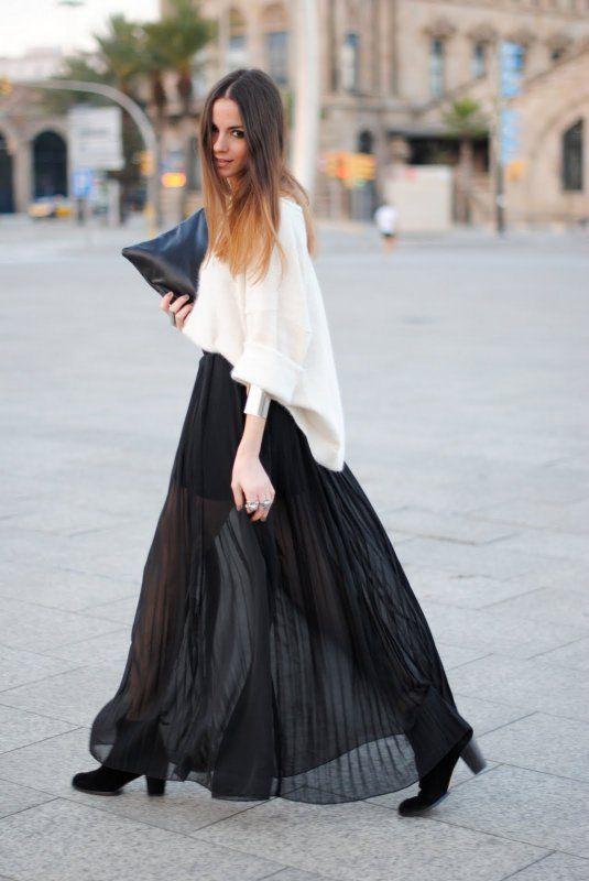 falda larga negra plisada+sweater overside