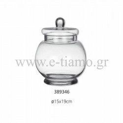 Διακοσμητική Γυάλα με Καπάκι Διάσταση: Φ15 Χ 19 cm