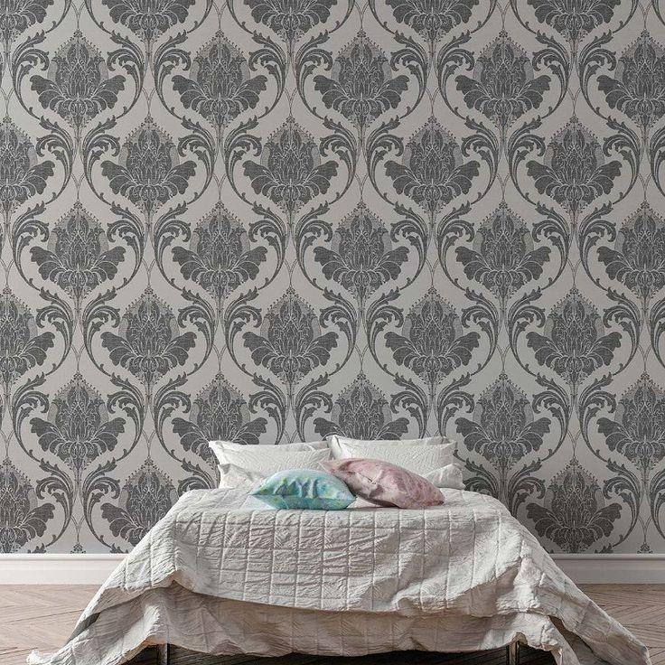 Crown Zahra Damask Charcoal Wallpaper - http://godecorating.co.uk/crown-zahra-damask-charcoal-wallpaper/
