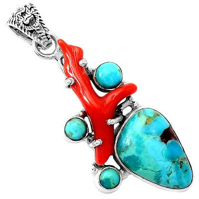 Sleeping-Beauty-Turquoise-Red-Coral-925-Silver-Pendant-Jewelry-SP223110