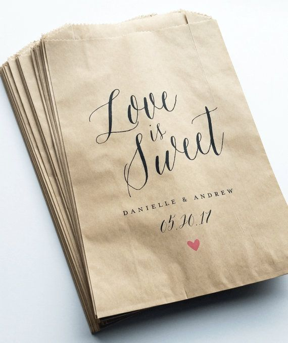 Love is Sweet Wedding Candy Buffet Brown Kraft Favor Bags with Calligraphy Script Font.
