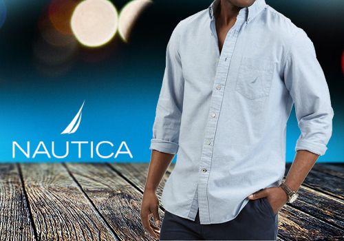 Ανδρικό βαμβακερό πουκάμισο Nautica σε θαλασσί χρώμα από 79€ Μόνο 35€