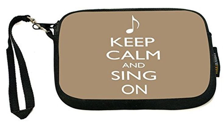 UKBK Keep Calm and Sing On Brown Color - Neoprene Clutch Wristlet with Safety Closure - Ideal case for Camera, Cell Phone, Gameboy, Passport, Cosmetic