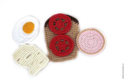 Crochet food toy / Еда, вязаная еда, кукольная еда, бутерброд, завтрак, вязаный завтрак, миниатюрная еда, развивающая еда,   еда для игр, купить вязаная еда, еда для кукол