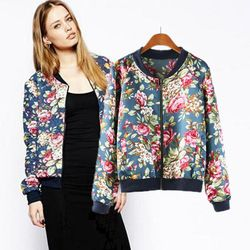 Online Shop Small but beautiful autumn 2014 new European and American women's long-sleeved collar jacket printing factory outlets Women Aliexpress Mobile