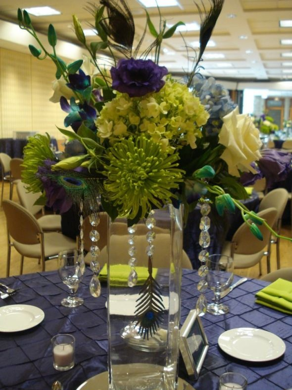 Peacock Theme Wedding Decorations And Linens Purple Teal Lime Green