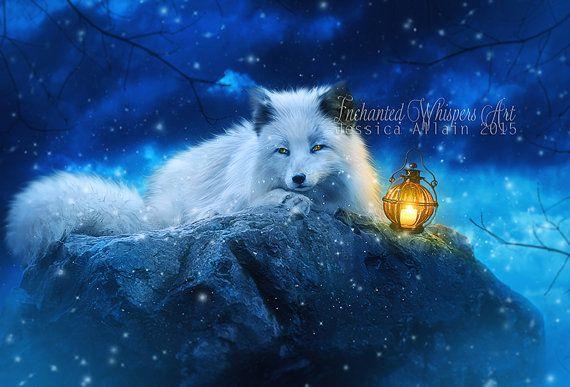 White Fox artwhite fox printArctic fox by EnchantedWhispersArt