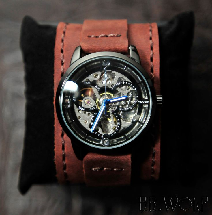 Men's Skeleton Watch - FATHERS DAY SALE - Worldwide F R E E Shipping - Steampunk Monaco Leather. $119.00, via Etsy. cool watch for such a small amt of $.