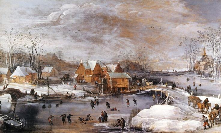 Skating Fun in Winter - Joos Momper (1564-1635)  Flemish, Netherlands